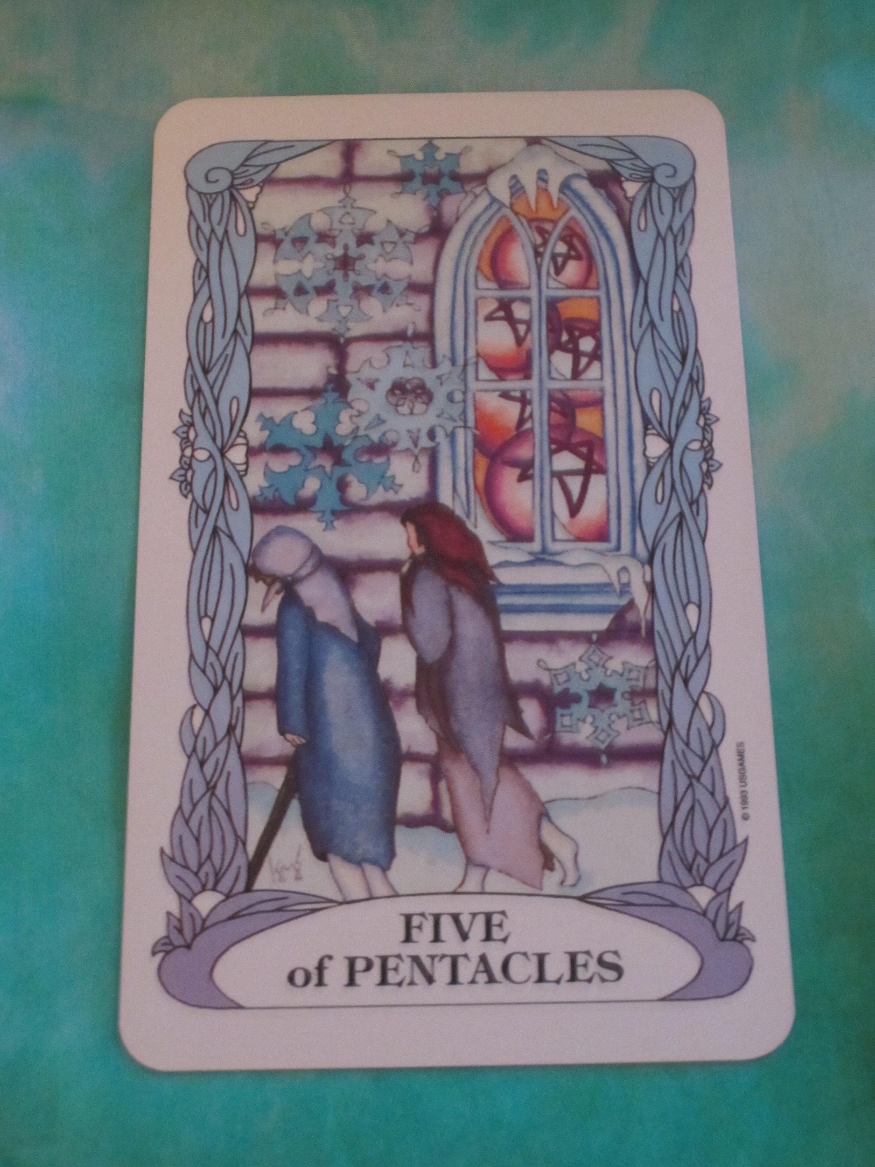 Tarot Girl Queen Of Wands: Five Of Pentacles Tarot Card For Thursday