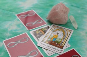 tarot spread with crystal